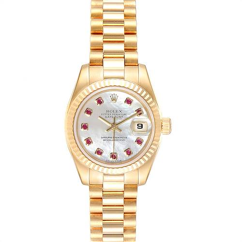 Photo of Rolex President Datejust Yellow Gold MOP Rubies Ladies Watch 179178 Box Papers