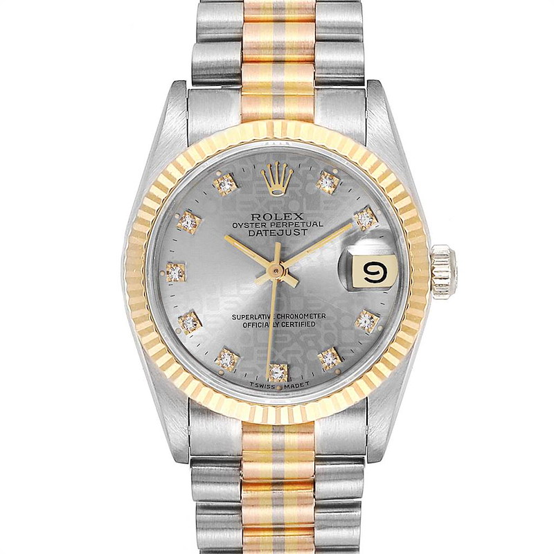 Rolex President Tridor Midsize White Yellow Rose Gold Diamond Ladies Watch 68279 SwissWatchExpo
