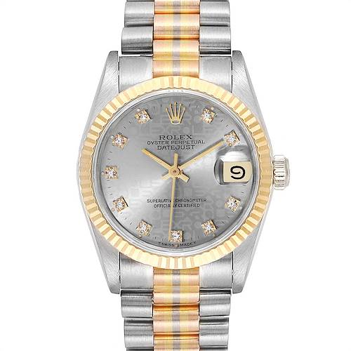 Photo of Rolex President Tridor Midsize White Yellow Rose Gold Diamond Watch 68279