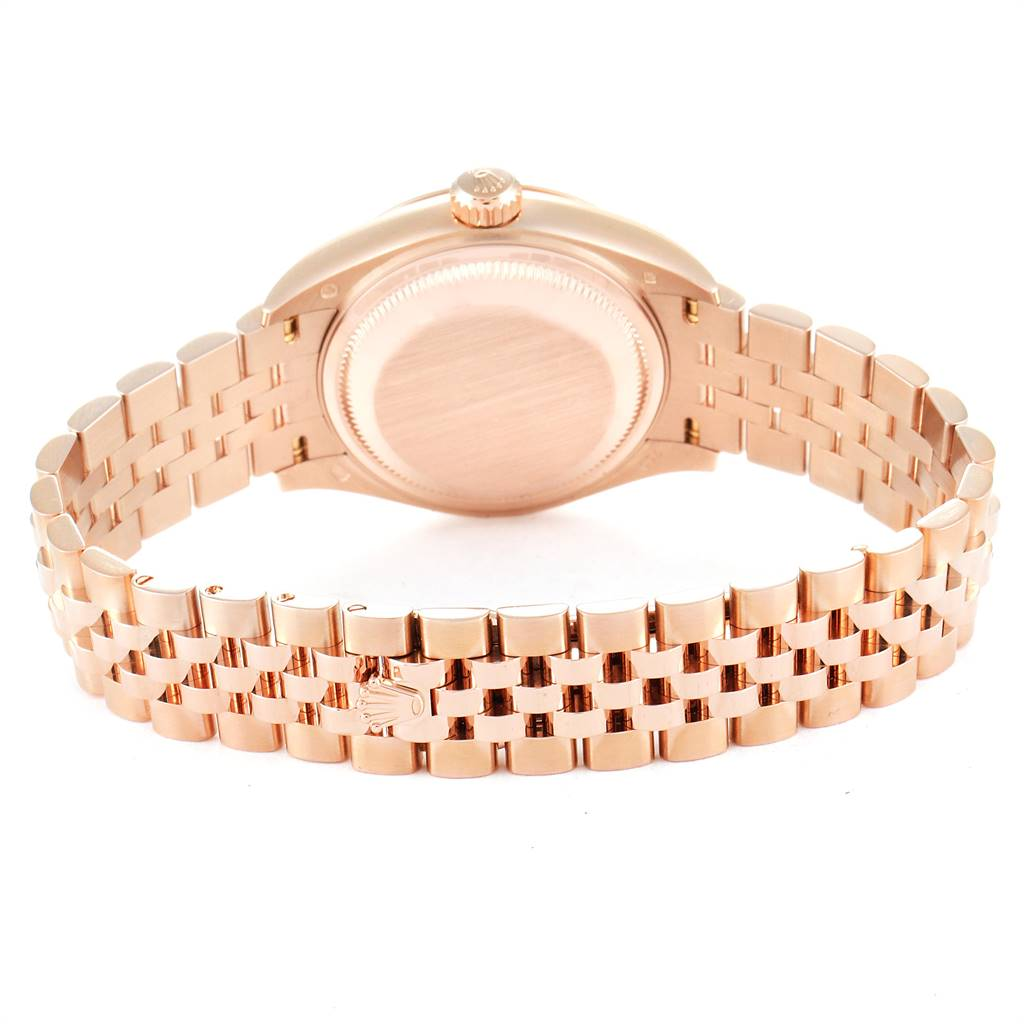 Rolex President 28 Rose Gold Chocolate Dial Ladies Watch 279165 Box Card SwissWatchExpo