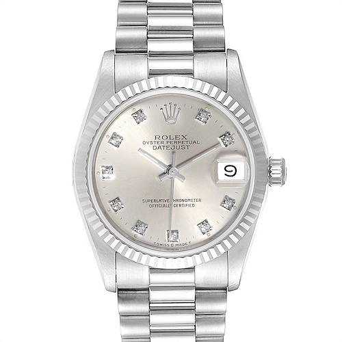 Photo of Rolex President Datejust Midsize White Gold Diamond Ladies Watch 68279