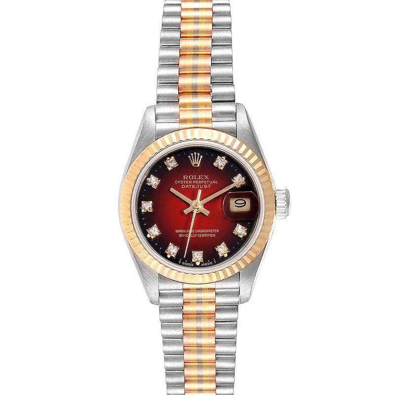 Rolex President Tridor White Yellow Rose Gold Diamond Ladies Watch 69179 SwissWatchExpo
