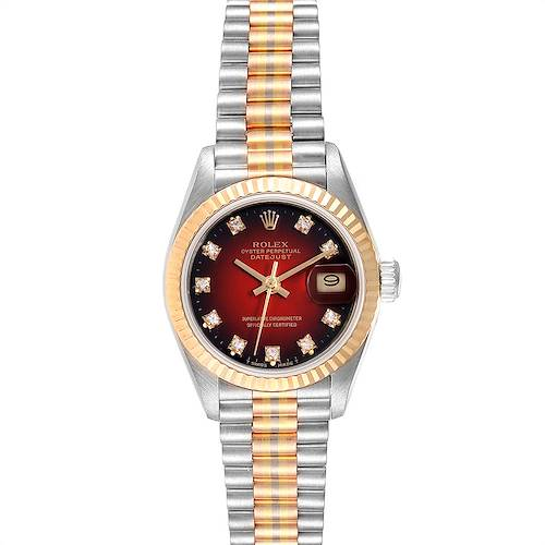 Photo of Rolex President Tridor White Yellow Rose Gold Diamond Ladies Watch 69179