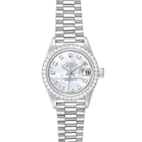 Photo of Rolex President Platinum Mother of Pearl Diamond Ladies Watch 79136