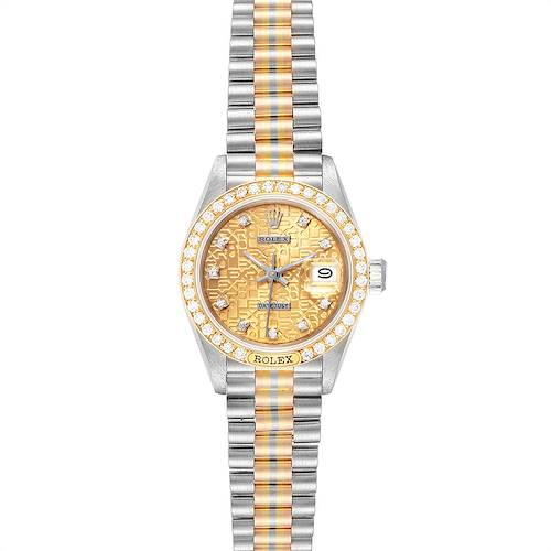 Photo of Rolex President Tridor White Yellow Rose Gold Diamond Ladies Watch 69149