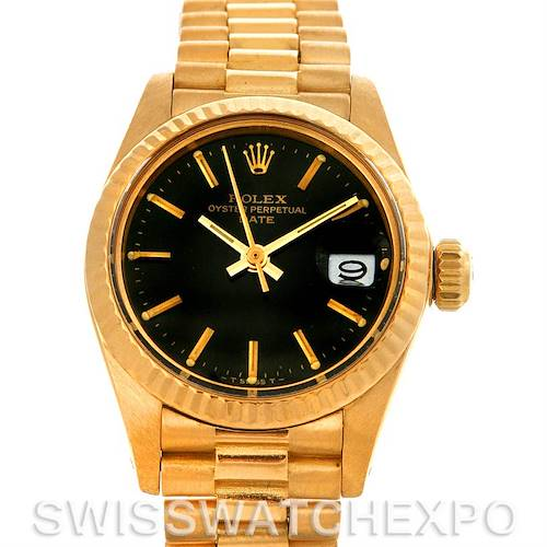 Photo of Ladies 18k Yellow Gold Rolex President Black Index Dial Fluted Bezel 6917