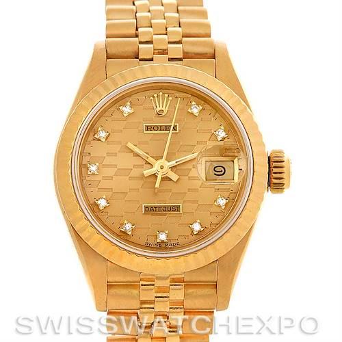 Photo of Rolex President Ladies 18k Yellow Gold Diamonds 69178 Chevrolet Award