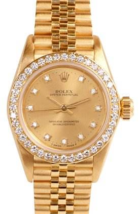 Photo of Rolex Ladies Oyster Perpetual Diamond Dial Bezel 67198