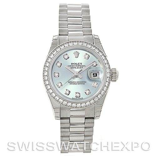 196c9c56574 ... 5238 Rolex President Ladies Ice Blue Dial Platinum Diamond Watch 179136  SwissWatchExpo ...