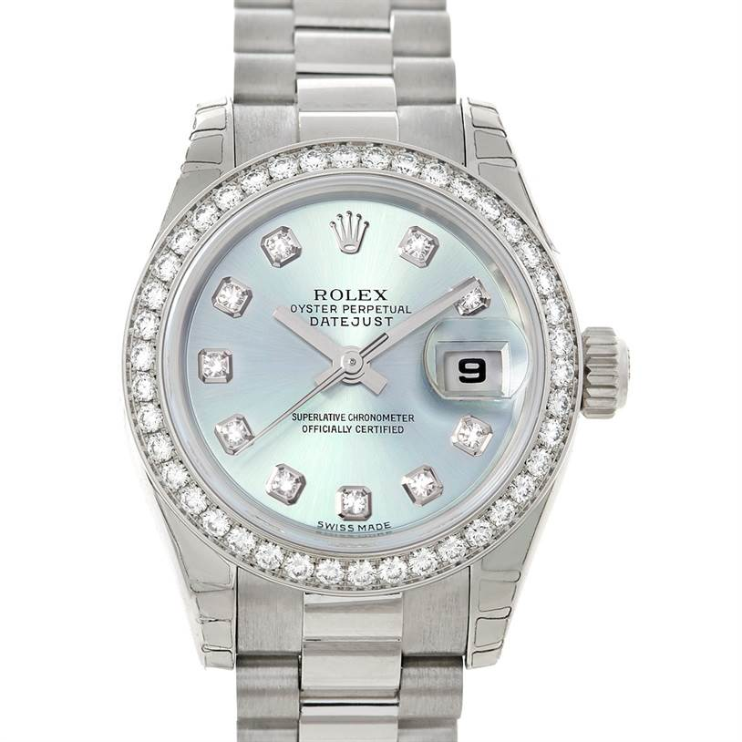cfdc4e2b9fa 5238 Rolex President Ladies Ice Blue Dial Platinum Diamond Watch 179136  SwissWatchExpo
