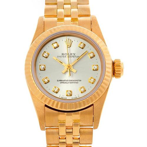 Photo of Rolex President Non-Date 18K Gold Diamond Dial Watch 67198