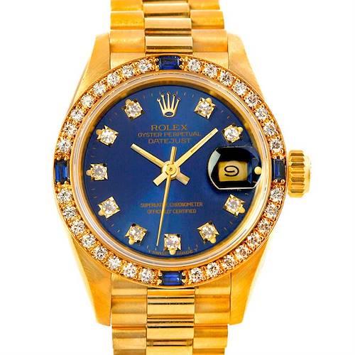 Photo of Rolex President Ladies 18k Yellow Gold Diamonds Sapphires Watch 69088
