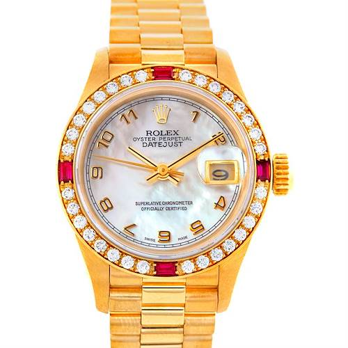 Photo of Rolex President Ladies 18k Yellow Gold Diamonds Rubies Watch 69068