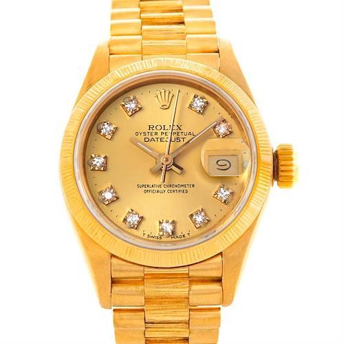 Photo of Rolex President Ladies 18k Yellow Gold Diamond Watch 69278