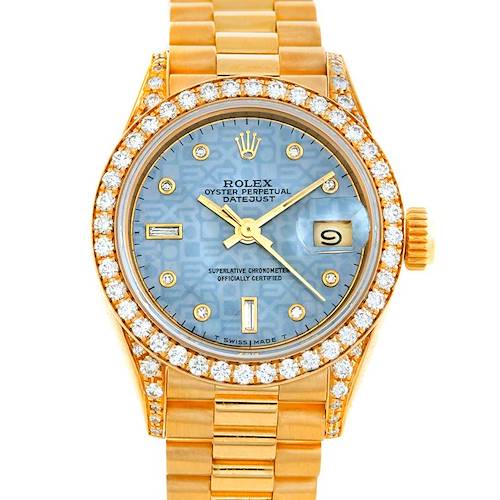 Photo of Rolex President Crown Collection Ladies 18k Yellow Gold Diamonds Watch 69158