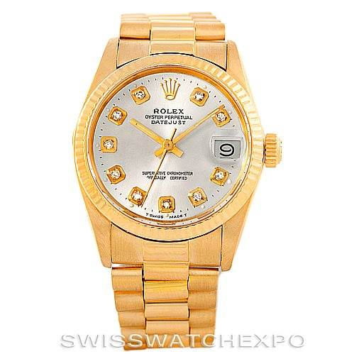 57cfeb6b989 ... 6500 Rolex Datejust President Midsize18k Yellow Gold Watch 6827  SwissWatchExpo ...