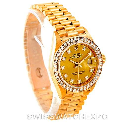7272 Rolex President Ladies 18k Yellow Gold Diamonds Watch 69138 SwissWatchExpo