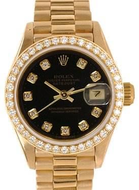 Photo of Rolex Ladies 18k Yellow Gold Diamonds President 69138