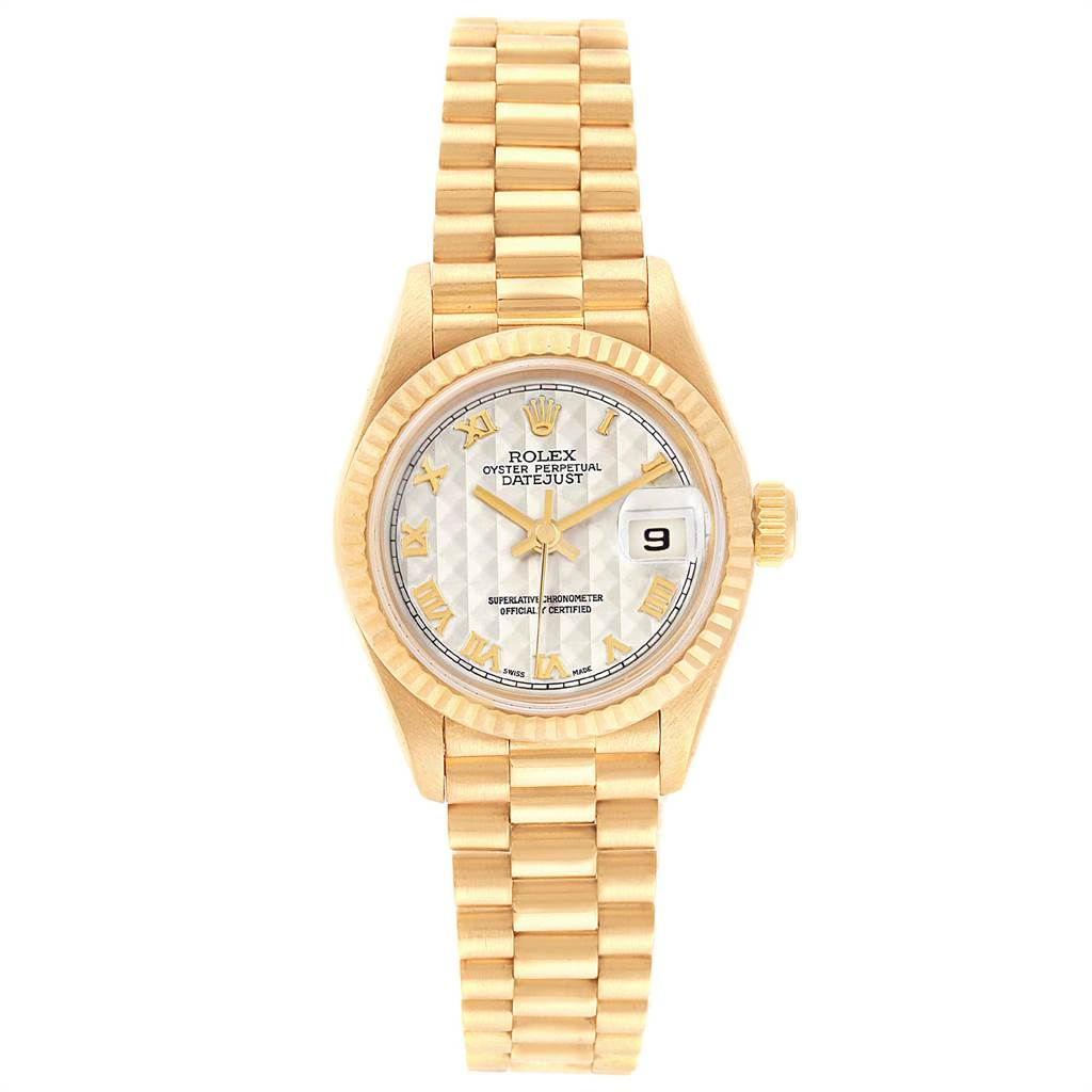 7960 Rolex President Datejust 26 Yellow Gold Ladies Watch 69178 Box Papers SwissWatchExpo