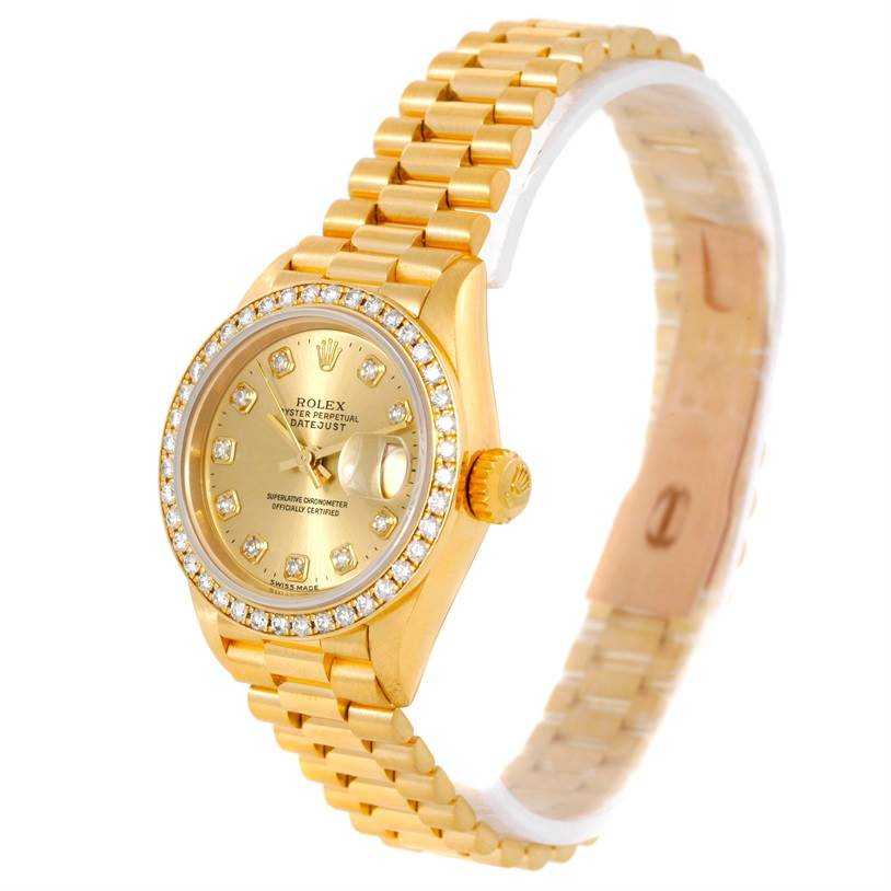 9454 Rolex President Ladies 18k Yellow Gold Diamond Watch 69178 SwissWatchExpo