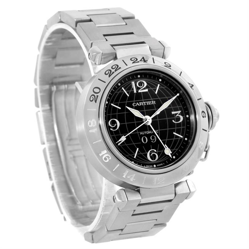 10091 Cartier Pasha C GMT Black Dial Mens Steel Watch W31049M7 SwissWatchExpo