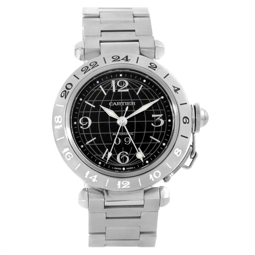 Cartier Pasha C GMT Black Dial Mens Steel Watch W31049M7 SwissWatchExpo