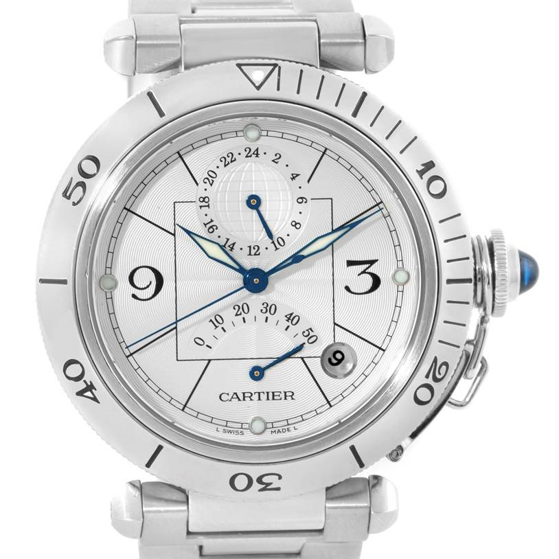 10165 Cartier Pasha GMT Power Reserve Mens Steel Watch W31037H3 SwissWatchExpo