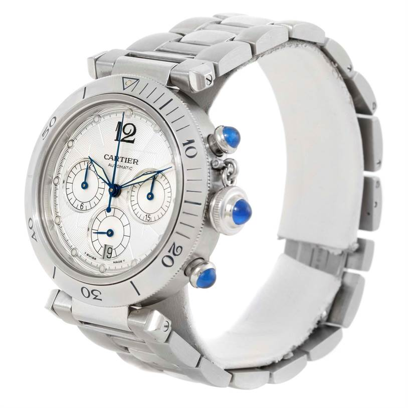 10166 Cartier Pasha Seatimer Chronograph Steel Mens Watch W31030H3 SwissWatchExpo