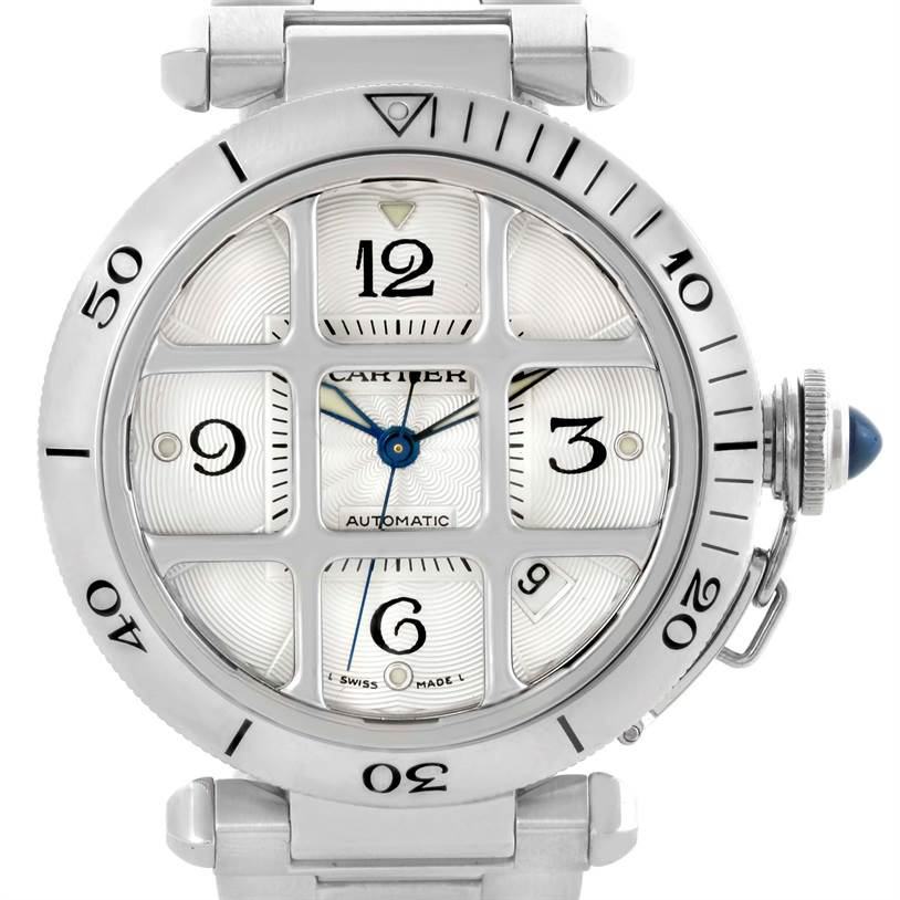 10338 Cartier Pasha Seatimer Stainless Steel Grid Watch W31059H3 SwissWatchExpo