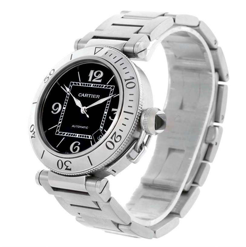10366 Cartier Pasha Seatimer Black Dial Stainless Steel Watch W31077M7 SwissWatchExpo