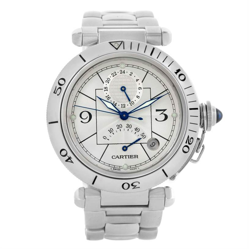 10343 Cartier Pasha Power Reserve GMT Mens Silver Dial Watch W31037H3 SwissWatchExpo
