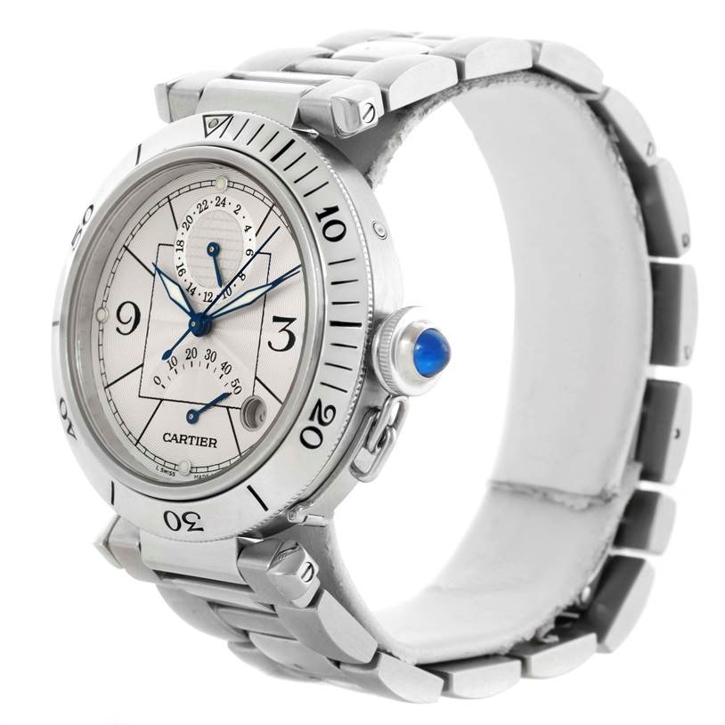 Cartier Pasha Power Reserve GMT Mens Silver Dial Watch W31037H3 SwissWatchExpo