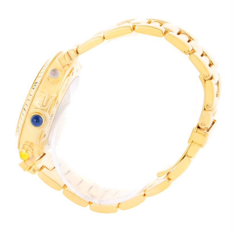 10386 Cartier Pasha Three Time Zone Moonphase Yellow Gold Automatic Watch SwissWatchExpo