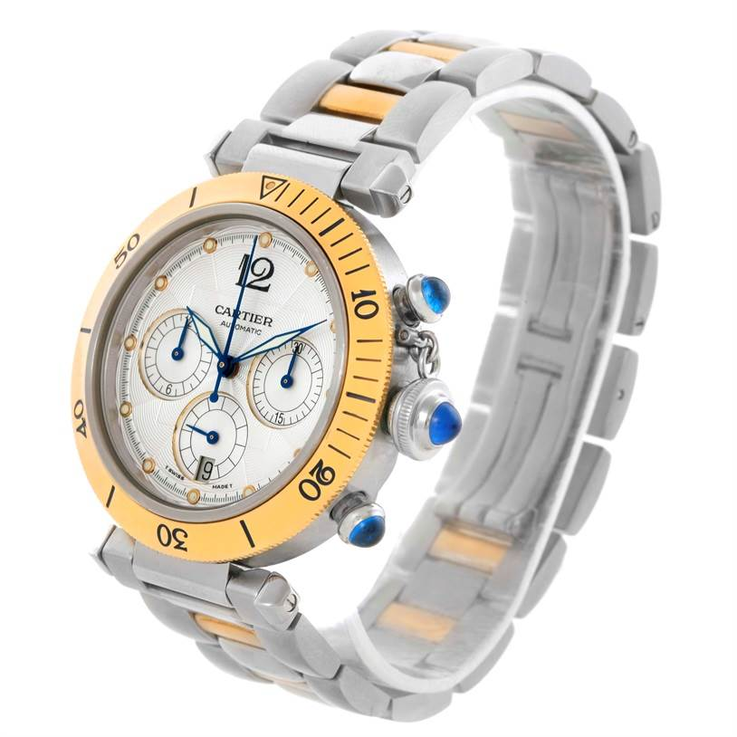 10518 Cartier Pasha 38mm Steel 18K Yellow Gold Chrono Watch W31036T6 SwissWatchExpo
