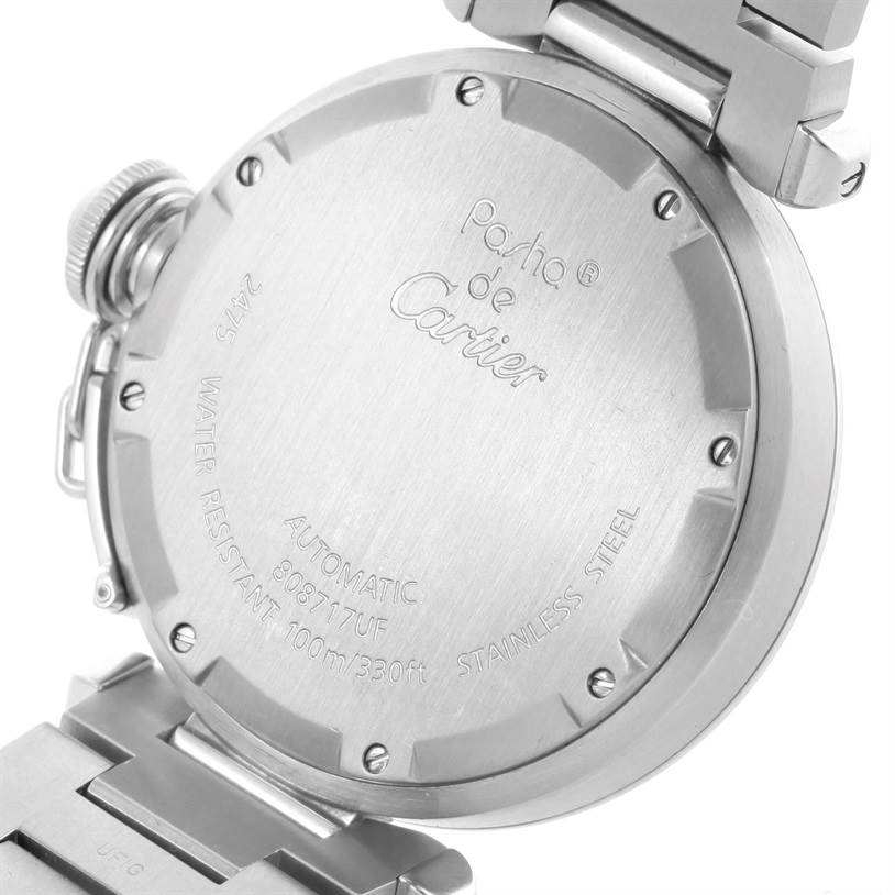 10528 Cartier Pasha C Midsize Steel Watch Big Date W31044M7 SwissWatchExpo
