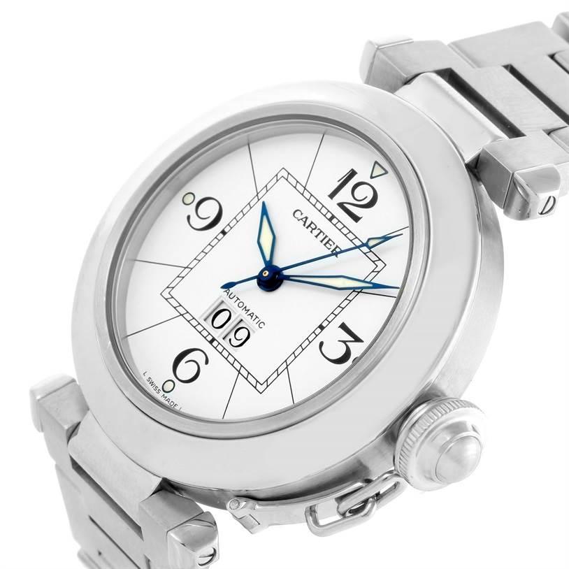10528 Cartier Pasha C Midsize Steel Watch Big Date W31044M7 SwissWatchExpo
