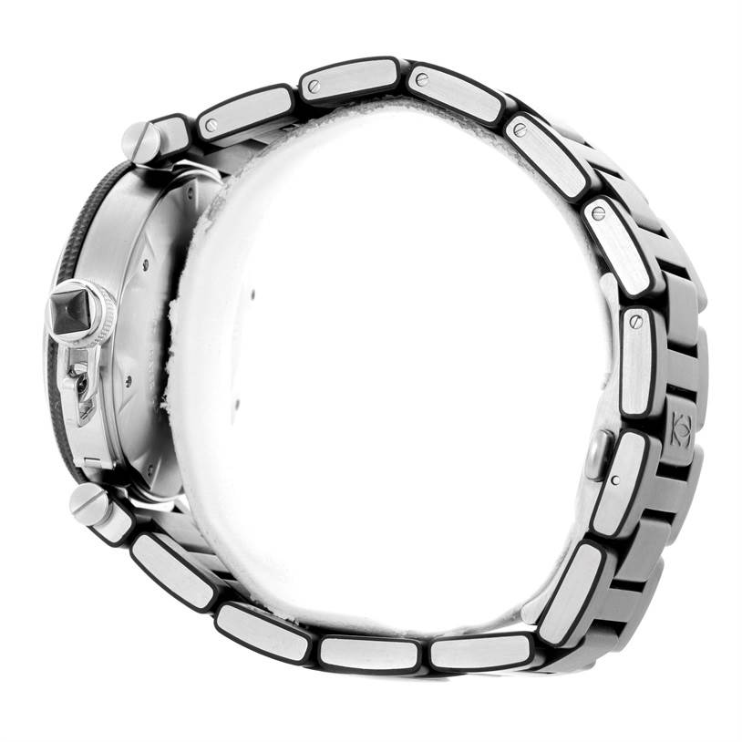 10538 Cartier Pasha Seatimer Steel Black Rubber Strap Mens Watch W31077U2 SwissWatchExpo