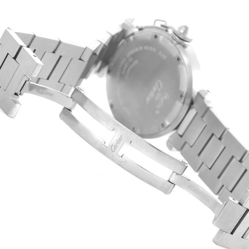 10544 Cartier Pasha C Midsize Steel Blue Dial Watch Big Date W31047M7 SwissWatchExpo