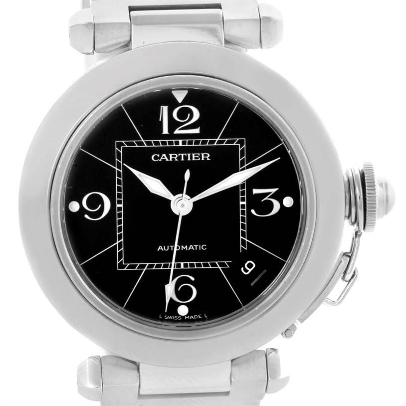 10299 Cartier Pasha C Medium Black Dial Automatic Steel Watch W31076M7 SwissWatchExpo