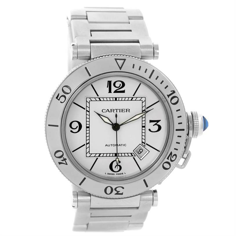 10576 Cartier Pasha Seatimer Stainless Steel Silver Dial Watch W31080M7 SwissWatchExpo