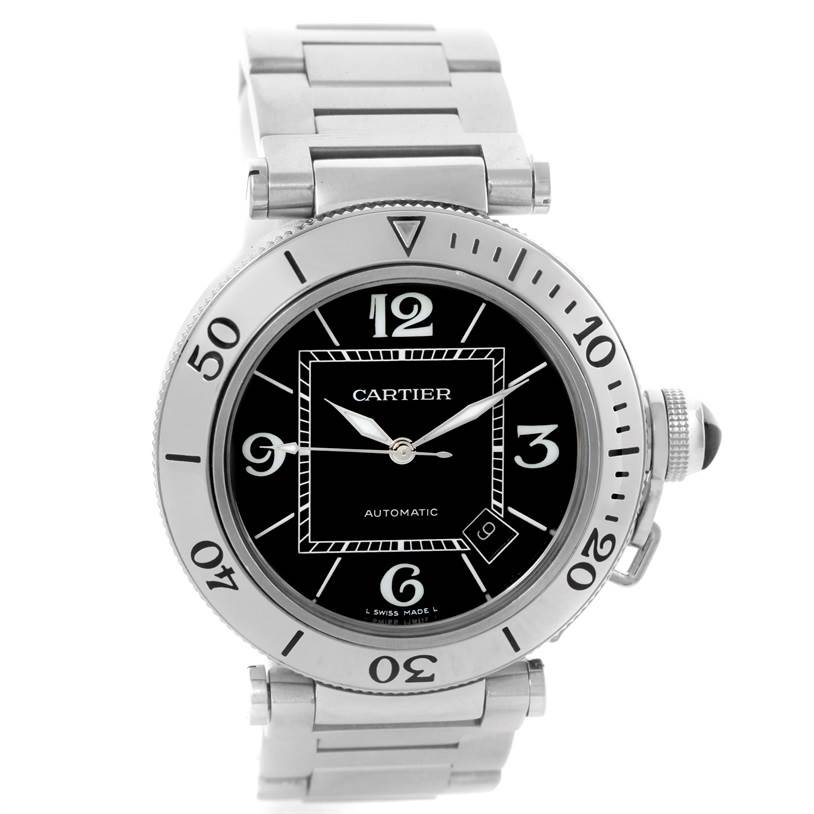 10663 Cartier Pasha Seatimer Black Dial Stainless Steel Watch W31077M7 SwissWatchExpo