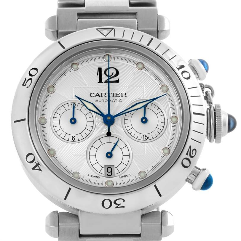 10648 Cartier Pasha Seatimer Chronograph Steel Mens Watch W31030H3 SwissWatchExpo