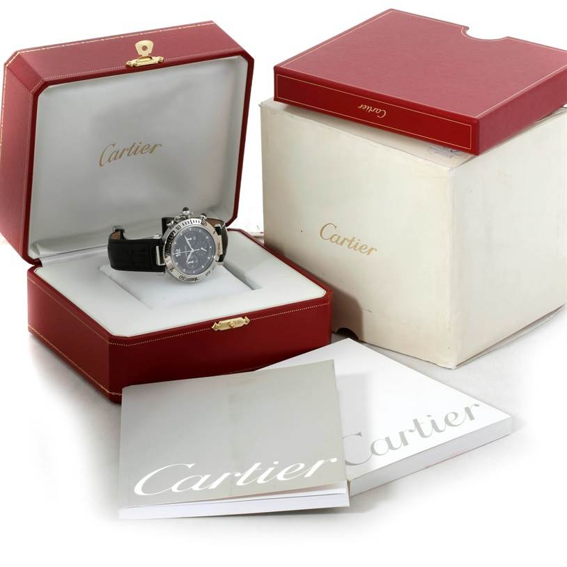 9288 Cartier Pasha Millennium Steel Platinum Gray Dial Watch W3105155 SwissWatchExpo