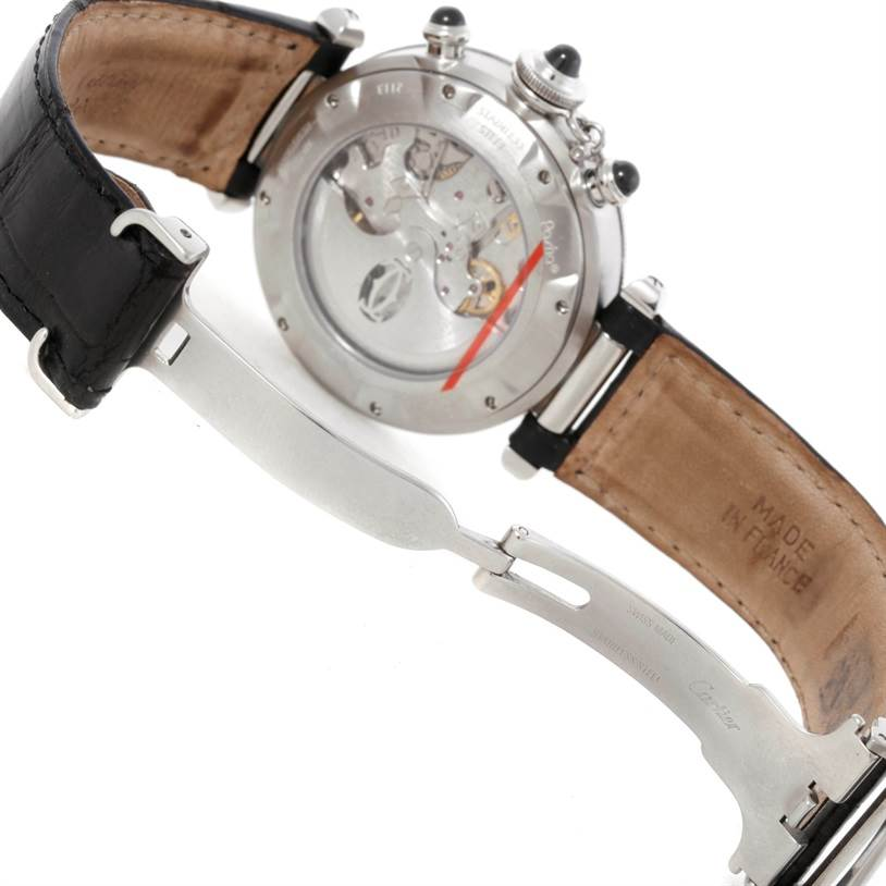 9288 Cartier Pasha Millennium Steel Platinum Gray Dial Watch W3105155 SwissWatchExpo