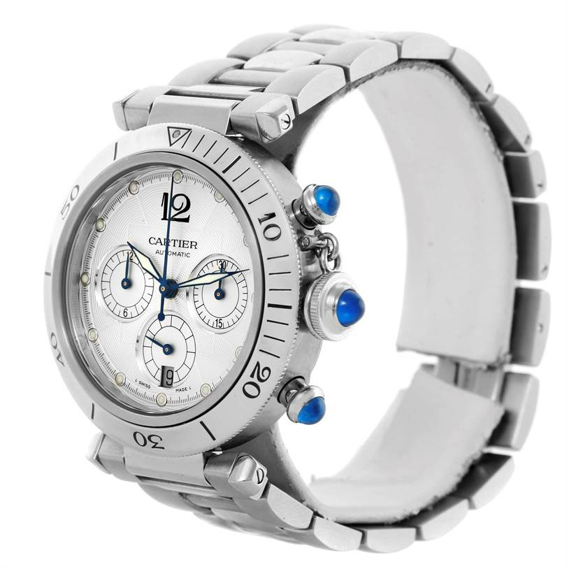 10724 Cartier Pasha Seatimer Chronograph Steel Mens Watch W31030H3 SwissWatchExpo