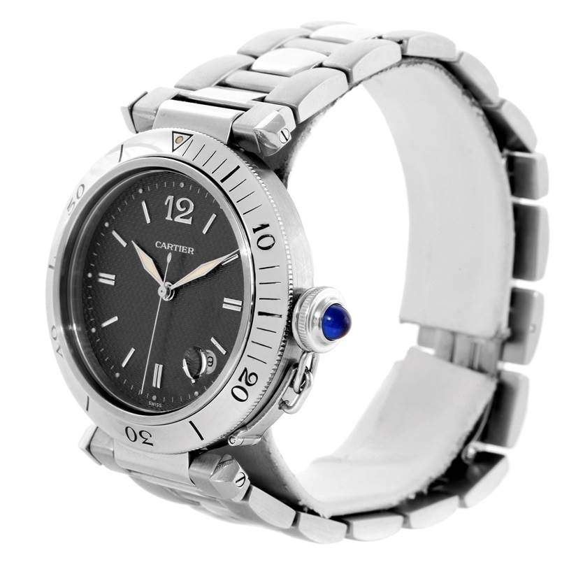 10700 Cartier Pasha Automatic Stainless Steel Gray Dial Watch W31017H3 SwissWatchExpo