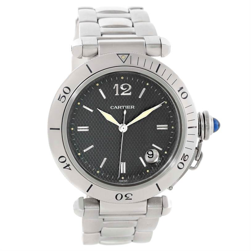 Cartier Pasha Automatic Stainless Steel Gray Dial Watch W31017H3 SwissWatchExpo