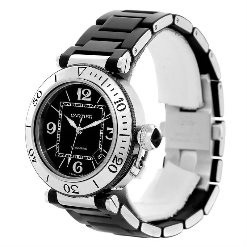 Cartier Pasha Seatimer Black Rubber Strap Mens Watch W31077U2 Box Papers SwissWatchExpo