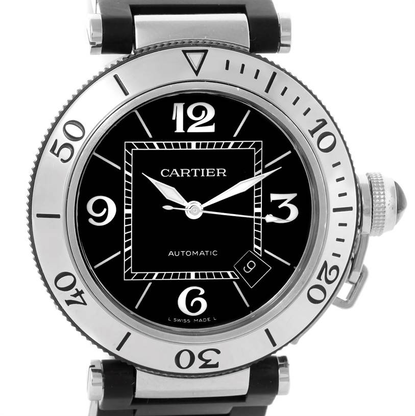 10742 Cartier Pasha Seatimer Black Rubber Strap Mens Watch W31077U2 Box Papers SwissWatchExpo