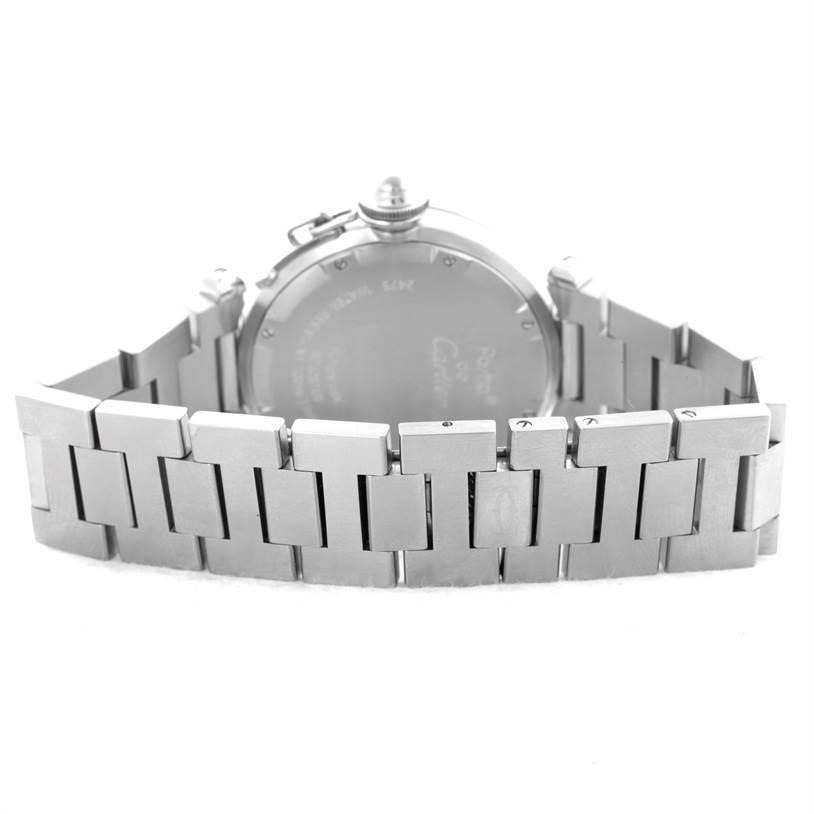 10530 Cartier Pasha C Midsize Steel Watch Big Date White Dial W31044M7 SwissWatchExpo